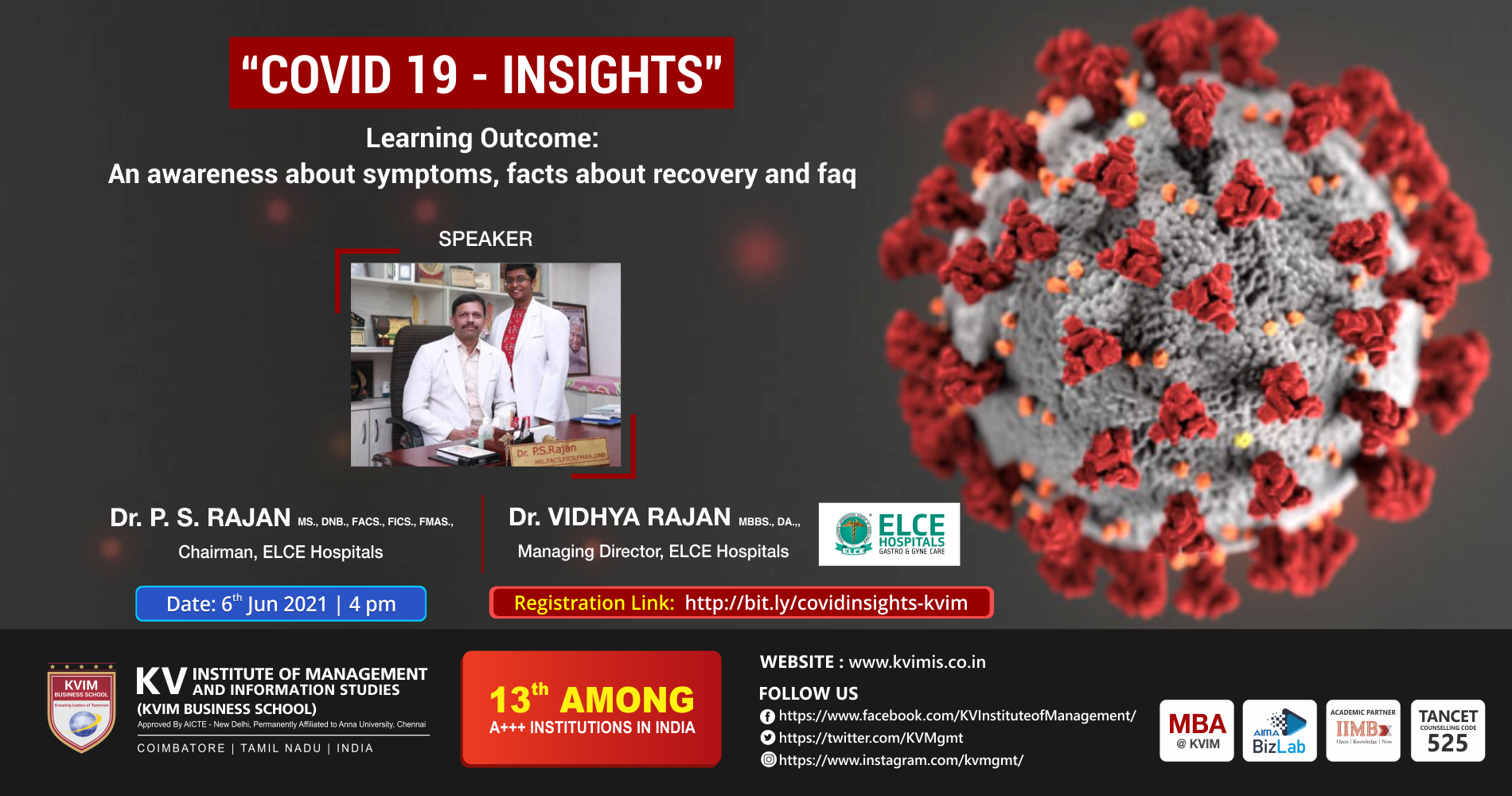 KVIM Organises a webinar on Covid19 Insights - An awareness about symptoms, facts about recovery and FAQ